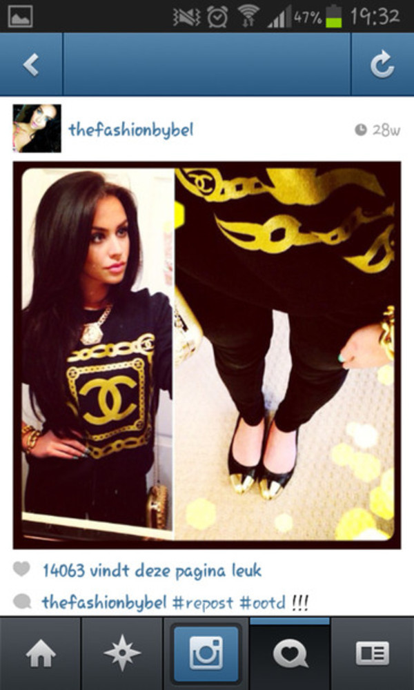 sweater sweatshirt chanel black gold gorgeous iloveit