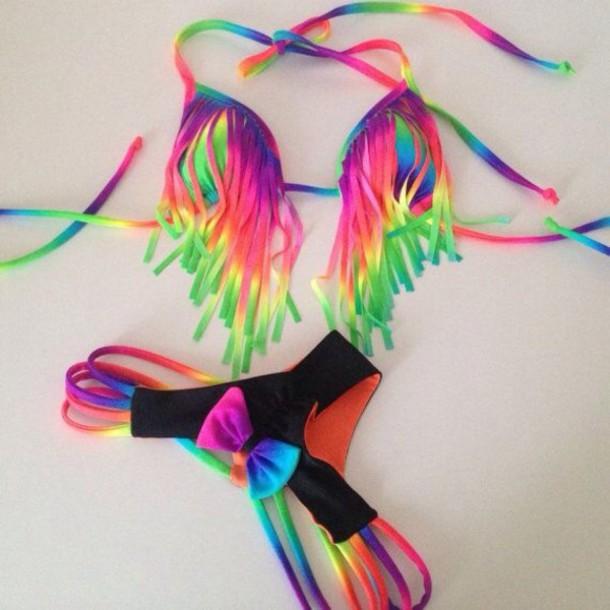 swimwear colorful bikini rainbow bikini