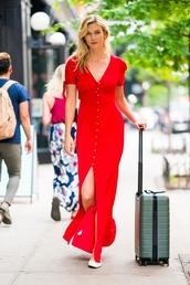 dress,karlie kloss,shoes,flats,summer dress,summer,summer outfits,red dress,maxi dress,suitcase,ballet flats