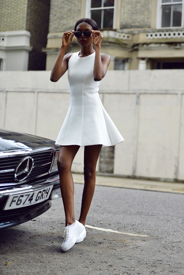 bisous natascha blogger sunglasses shoes dress little white dress mini dress