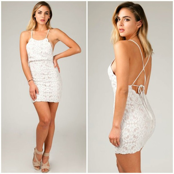 dress angl lace style fashion cute girly string back strappy backless dress low back sexy white lace scallop lace scalloped dress spring summer last chance
