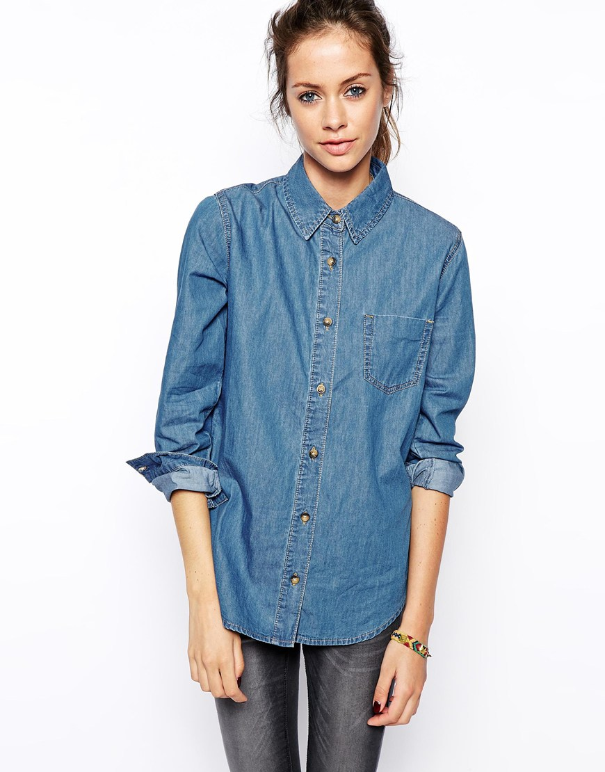 Asos denim shirt in retro wash at asos.com
