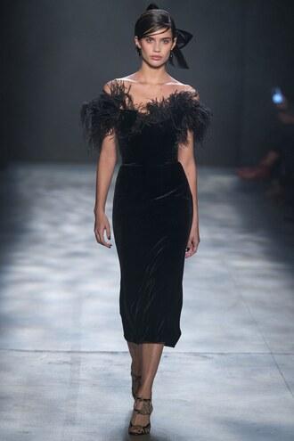 dress midi dress sara sampaio model marchesa runway nyfw 2017 fashion week 2017 off the shoulder dress off the shoulder gown velvet feathers