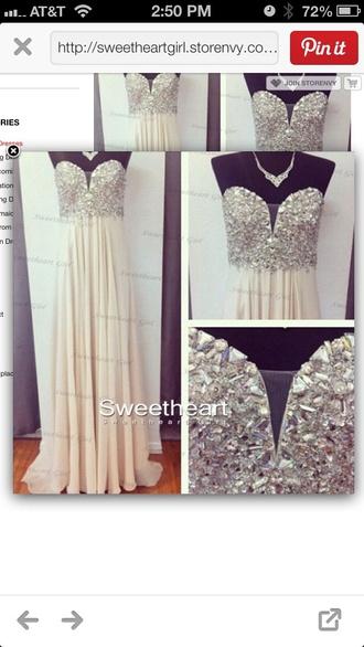 dress jewels pretty long prom dress prom dress sequins mannequin sweetheart dresses sweatheart neckline chiffon dress chiffon white dress girly 2014 prom dresses