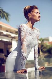 dress,wedding dress,long sleeves,long sleeve dress,white dress,white,classy,floral,silk,long dress,mesh,bodycon,fashion,beauty insanity,gown,special occasion,godess,someone help,perfection