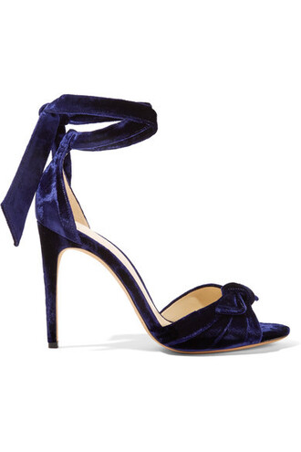 bow embellished sandals navy velvet shoes