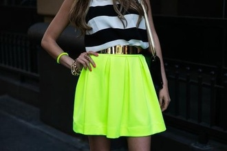 dress yellow bright colored striped shirt waist belt