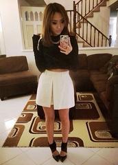 skirt,white skort,High waisted shorts,slit skirt,beige skirt,beige shorts,beige skort,fashionista804
