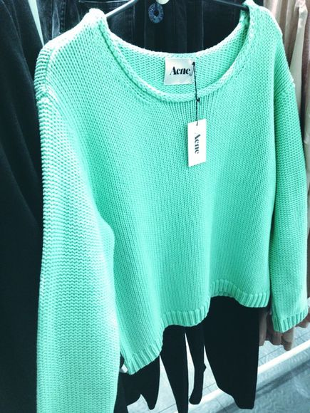 sweater acne studios pink jumper bright colored nice bright vibrant aqua knitwear майка acne sweater pink acne sweater mint