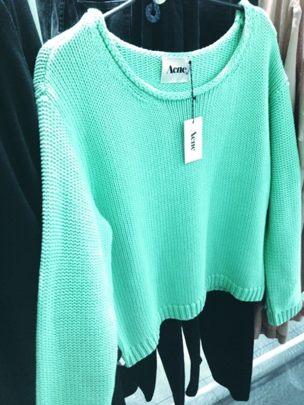 sweater aqua acne studios knit майка acne studios pink acne sweater pink jumper mint nice bright vibrant bright mint sweater weather girly