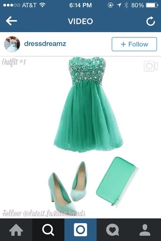 teal dress beaded