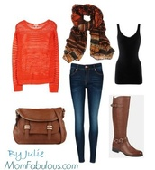scarf,bag,printed scarf,orange,long sleeves,sweater,skinny jeans,brown leather boots,tank top,purse