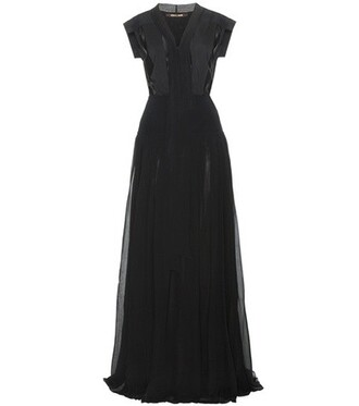 gown silk black dress