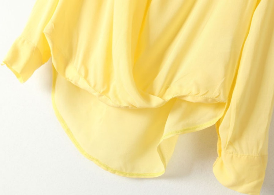 Yellow Long Sleeve Front Cross Dipped Hem Blouse - Sheinside.com