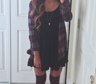 shirt flannel black sundress necklace