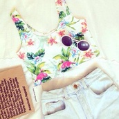 blouse,tank top,shirt,crop,crop tops,summer,floral,pretty,cute,american apparel,flowers,top,cut,shorts,sunglasses,flower power,fashion,tropical,floral tank top,t-shirt,paradise,tumblr,ocean,palm tree print,hawaiian,summer outfits,soft grunge,muster,denim shorts,High waisted shorts,round sunglasses,white crop tops,floral top,summer top