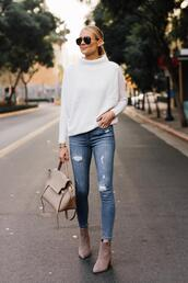 fashionjackson,blogger,sweater,jeans,shoes,bag,sunglasses,fall outfits,ankle boots,white sweater,ripped jeans,skinny jeans,high waisted jeans,suede boots,handbag,white sneakers,aviator sunglasses