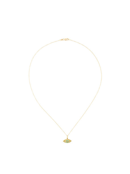 Ileana Makri open women necklace pendant gold grey metallic jewels