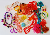 jewels,mod,neon,lucite,necklace,bracelets,funny,cool,retro,60s style,70s style,80s style,earrings