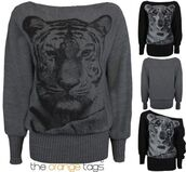sweater,ladies,women,print,tiger print,animal print,knitwear,batwing,long sleeves,jumper,cardigan,dress,top,grey black,urban,tiger face