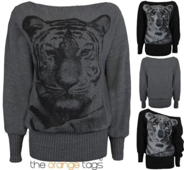 Sweater Ladies Women Print Tiger Print Animal Print