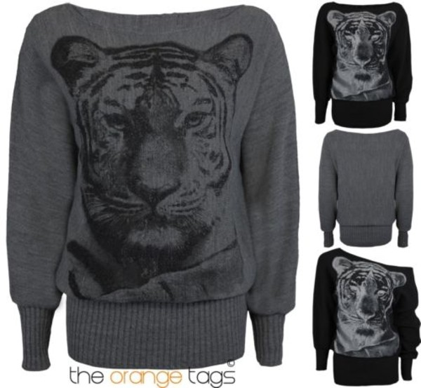 sweater ladies women print tiger print animal print knitwear batwing long sleeves jumper cardigan dress top grey black urban tiger face