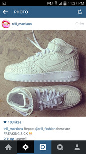 shoes,nike air force 1,snake skin,white sneakers,like this