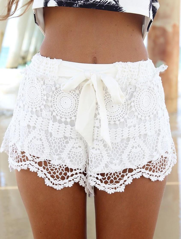 2014 nextshe white elegant shorts with unique lace design