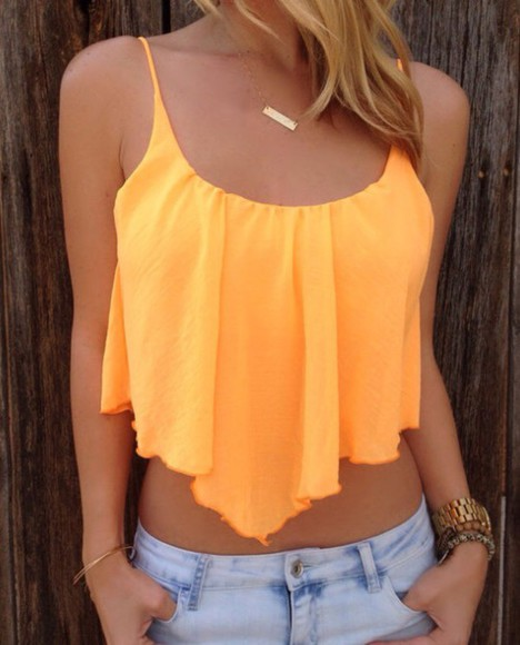 orange t-shirt summer outfits neon style blonde hair tank top