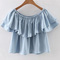 Light blue boat neck ruffle overlay crop top