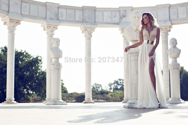 dress white dress prom dress prom dress slit wedding dress prom dress elegant dress elegantgown evening dress cocktail dress fancy dress long dress long dress