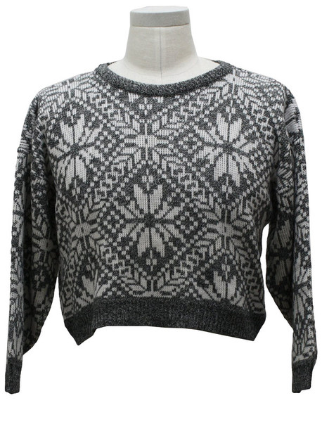 Sweater Pattern Tight Pullover Crop Tops Cropped Sweater