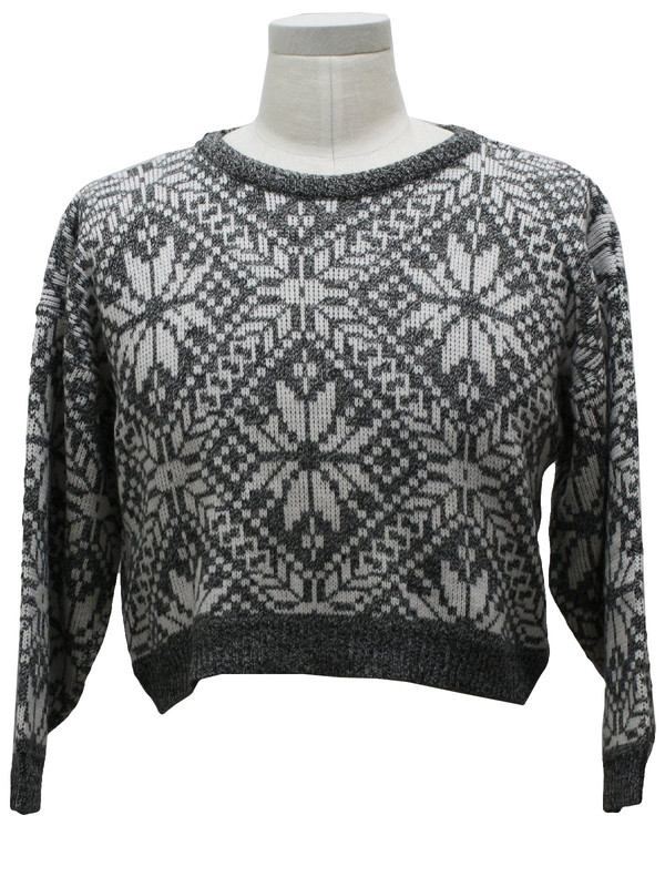 sweater pattern tight pullover crop tops cropped sweater christmas sweater black and white vintage pullover