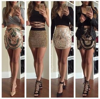 skirt cute top crop tops cute high heels cute skirts black top beaded instagram party clubwear jewels fashion style pretty stylish