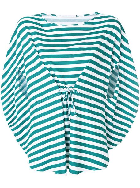 top striped top women cotton green