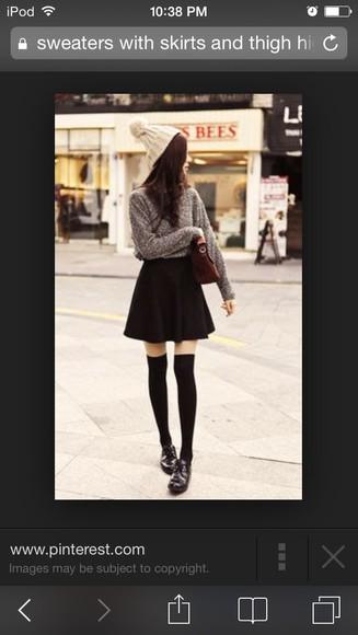mini skirt top sweater knee high socks beanie shoes pom pom beanie