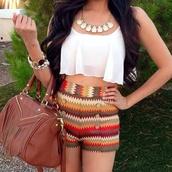 shorts,shirt,jewels,aztec,High waisted shorts,highwasted bottoms,print,high waisted