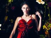 dress,textured dress,nina dobrev,red dress,frilled hem