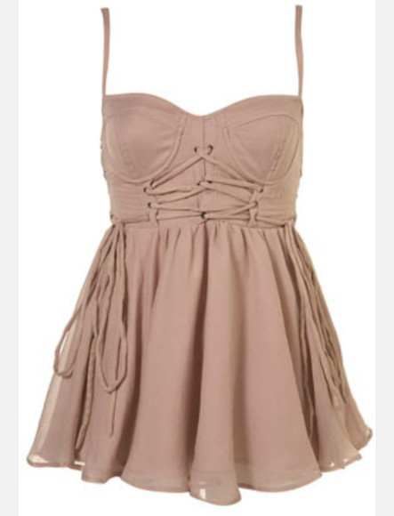 dress beige dress corset top flowy spaghetti strap