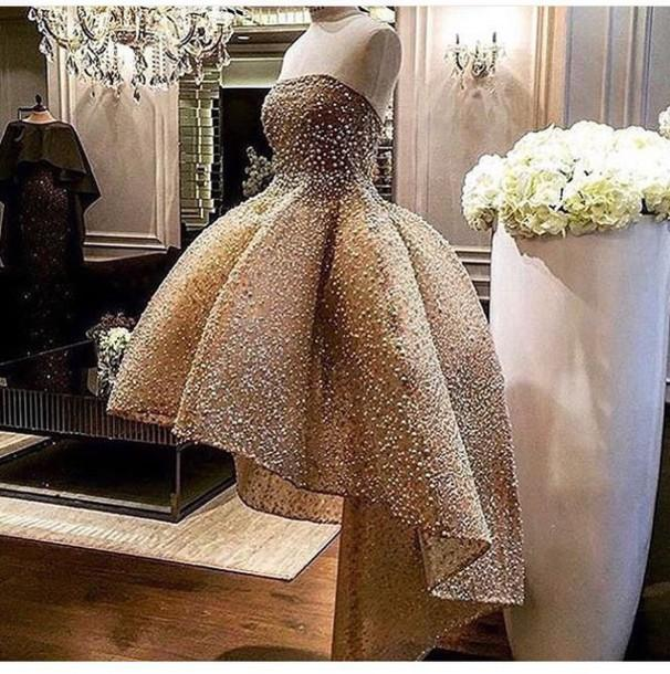 e7adbf78e79af Major Beading High Low Prom Dresses Strapless Backless Short Cocktail Party  Dresses Ruffle Beaded Arabic Special Occasion Dresses For Women Baby ...