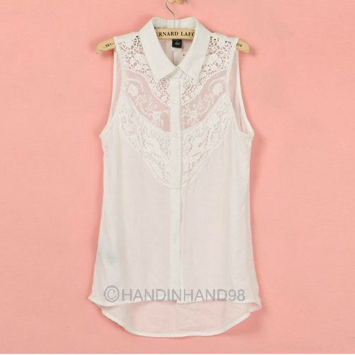 Sexy Women Lady Lace Chiffon Sleeveless Doll High-Low Blouse Shirt Tops S-L Pick