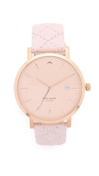 rose gold rose pale quilted watch gold pink jewels
