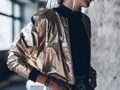 jacket,metallic,bomber jacket,gold leather jacket