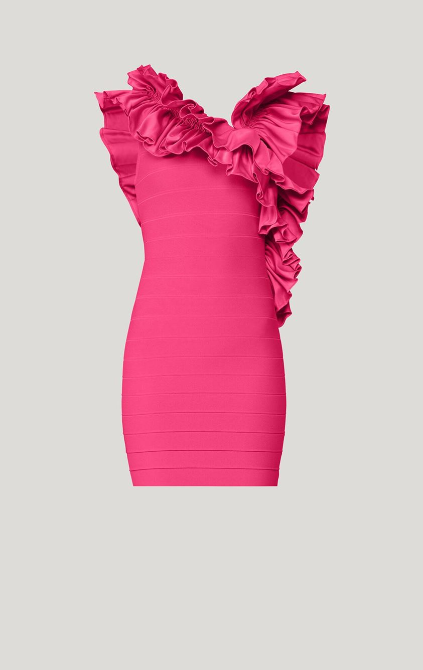 Herve Leger Ruffle Collar Mini Dress, Pink S