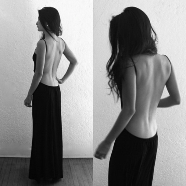dress cleavage back little black dress