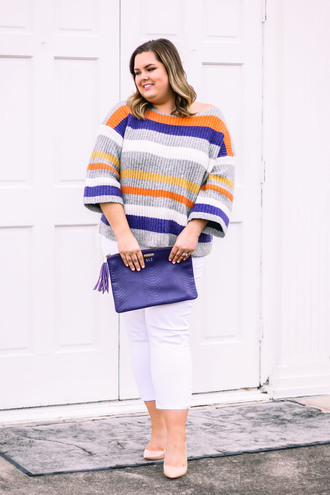 stylishsassy&classy blogger sweater jeans shoes bag winter outfits curvy clutch pumps white pants