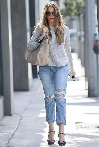 jeans denim ripped jeans sandals sofia vergara shoes purse bag