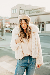 a little dash of darling,blogger,jacket,coat,top,sweater,shoes,hat,fuzzy coat,beret