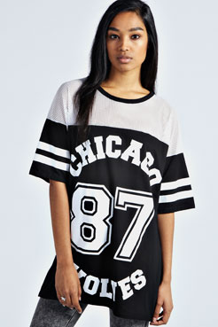 Sasha Chicago Wolves Oversized Baseball Tee at boohoo.com