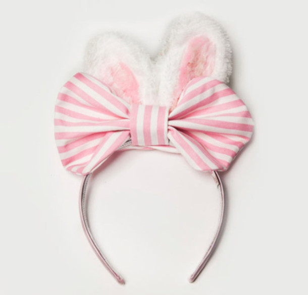 pink bunny bunny bows bordered stripes headband headpiece cute girly easter hair accessory